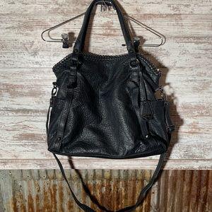 Jessica Simpson Black Faux Leather Chain Handbag